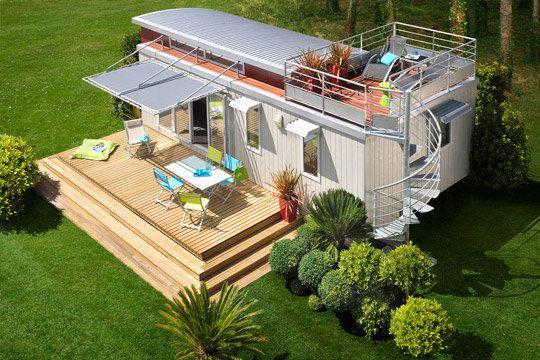 12 Mobile Homes Pour Vivre L Esprit Vacances Terrasse Mobil Home Maison Mobile Mobil Home