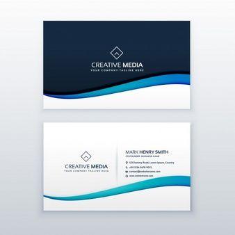 elegante tarjeta de negocios con onda azul grafico business