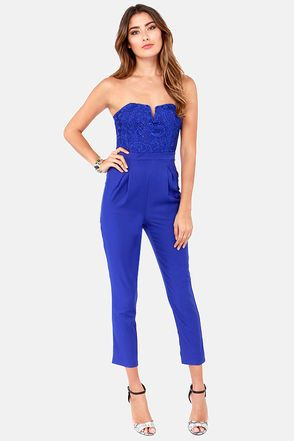 Come On Overlay Strapless Royal Blue Jumpsuit | Overlays ...