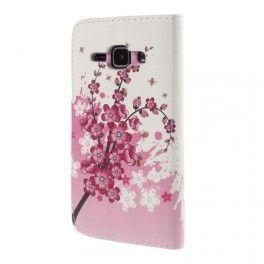 Galaxy J1 vaaleanpunaiset kukat puhelinlompakko.