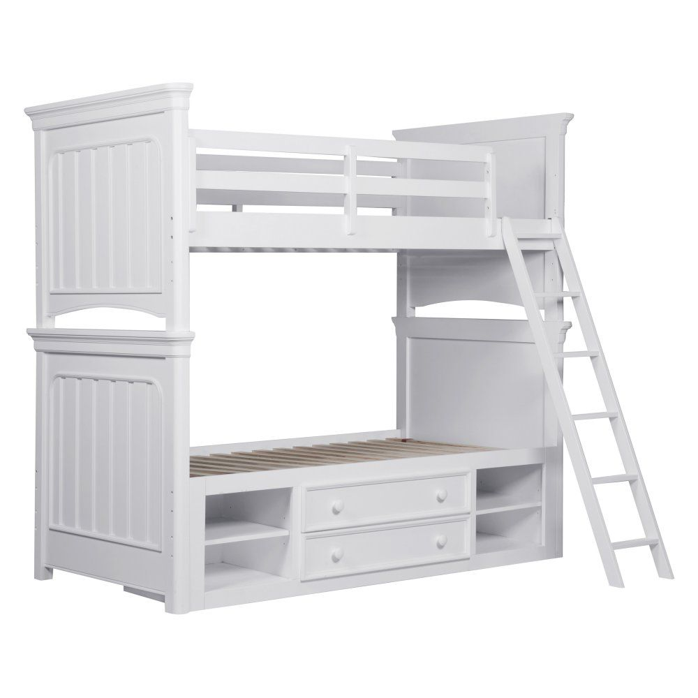 Loft bed with desk white  SummerTime Twin over Twin Bunk Bed  White  Kids Storage Beds at