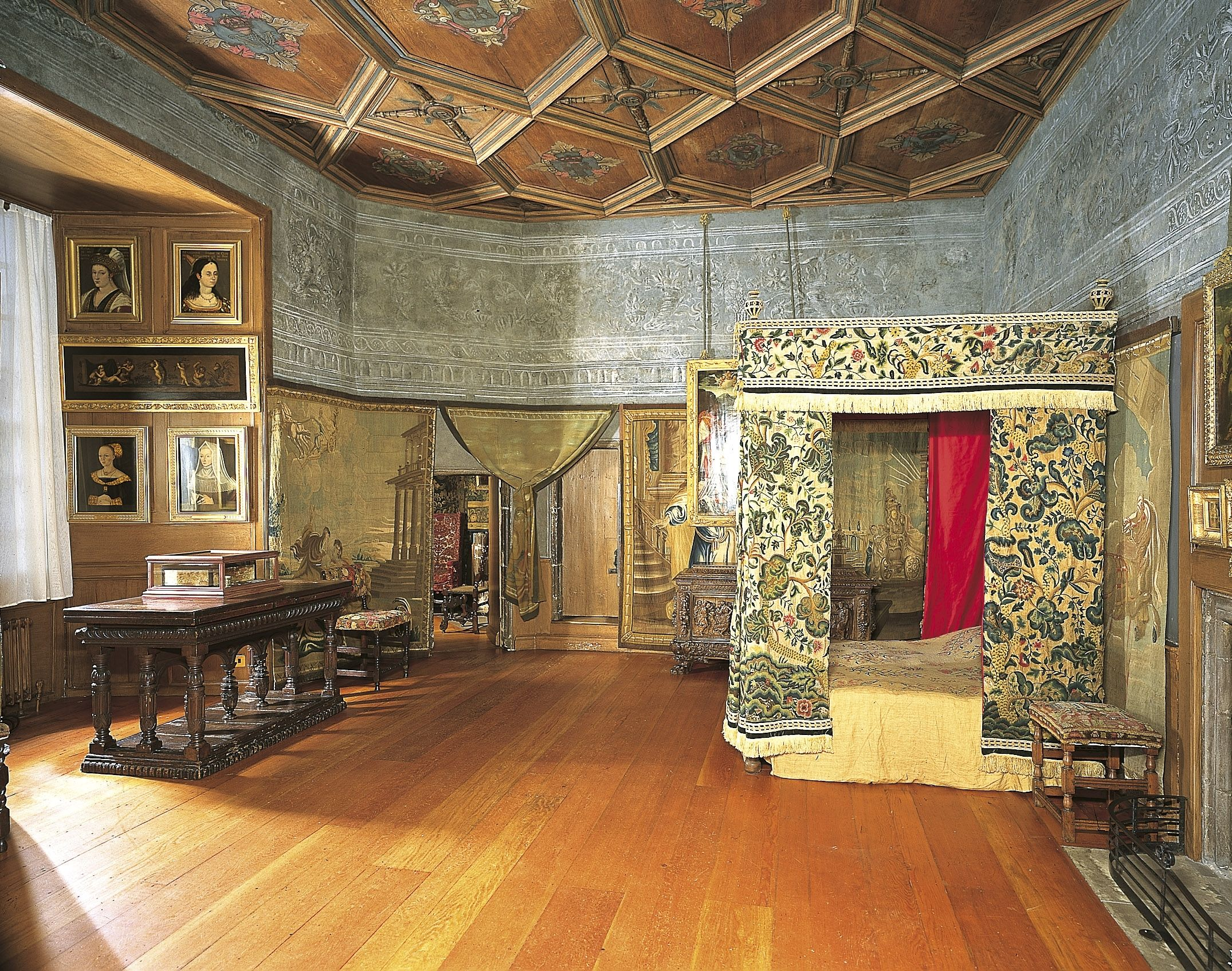 Queen Mary's bedchamber in the Palace of Holyroodhouse, Edinburgh: in 1566 David Rizzio was dragged from here and murdered. (Mary, Queen of Scots 2014)