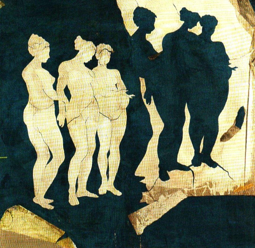 """Pierre Marie Brisson (1955-) een kunstenaar die zó uit een geschiedenisboek zou kunnen zijn gelopen. Kijkend naar het kleurgebruik van deze Franse kunstenaar is het niet moeilijk voor te stellen hoe het pallet van Nero's kunstenaar Fabulus (schepper van fresco's van de Domus Aurea) er uit moet hebben gezien. De mix van aubergine, mediteraan rood, antiek blauw en modderachtig beige lijken zo uit het verleden door de kunstenaar in het heden te zijn geplaatst.   """"Les 3 ombres blanches"""""""