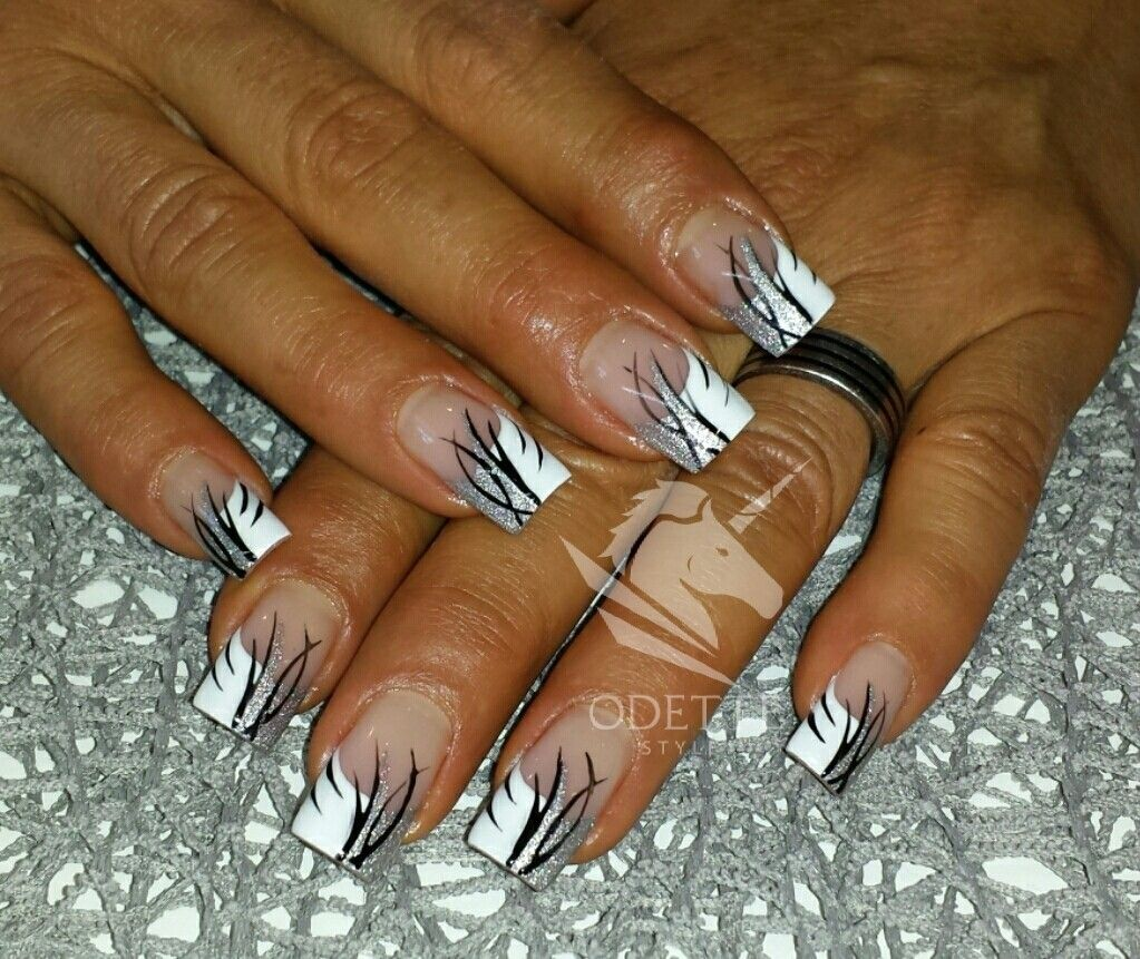 weiss silber schwarz nageldesign pinterest french nails beautiful nail art and shellac. Black Bedroom Furniture Sets. Home Design Ideas