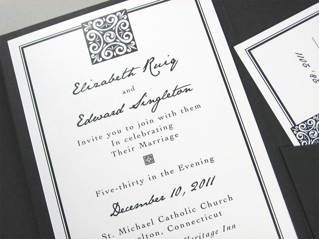 Custom Pocketfold Wedding Invitation Classic Black and White ...