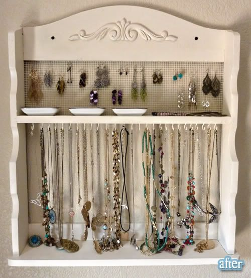 old spice rack redone into a beautiful jewelry organizer