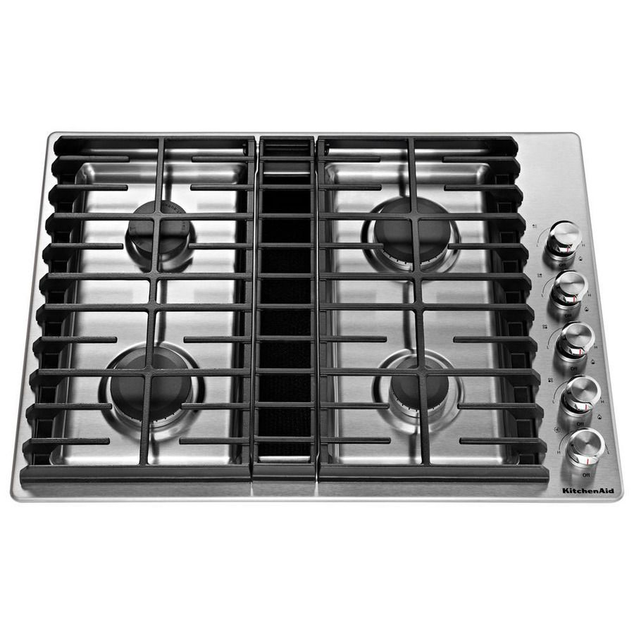 Kitchenaid 30 In Stainless Steel Gas Cooktop With Downdraft Exhaust Common 30 In Actual 30 In At Low Downdraft Cooktop Gas Cooktop Stainless Steel Cooktop