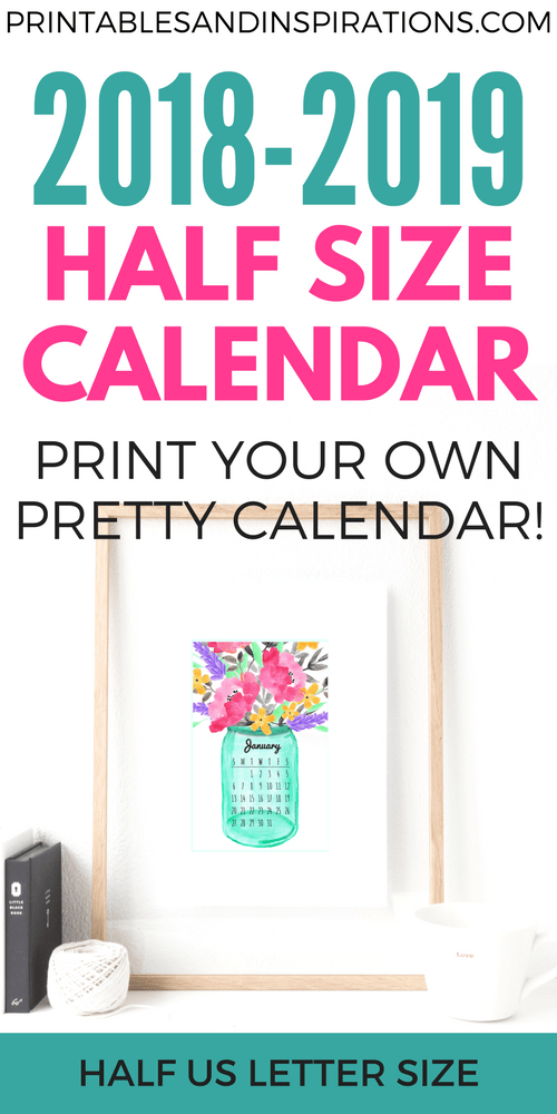 Free Printable Half Size Calendar 2018 And 2019 Printables
