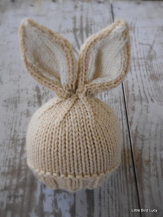 ba52338eba9 Knit Baby Bunny   Newborn Hat