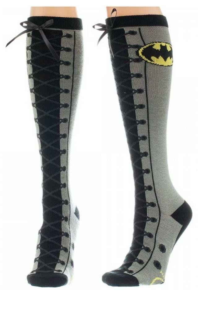 9fa1f3fbbbb DC Comics Batman Faux Lace Up Knee High Socks  Amazon.co.uk  Toys   Games
