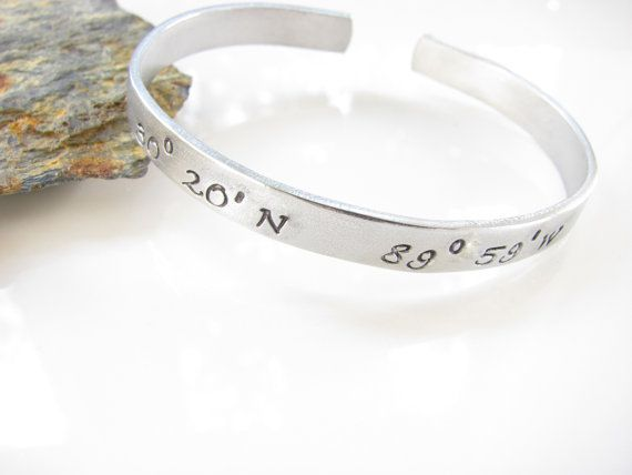 Latitude Longitude Cuff Bracelet, GPS, Location, Hand Stamped, Custom Made...Aluminum