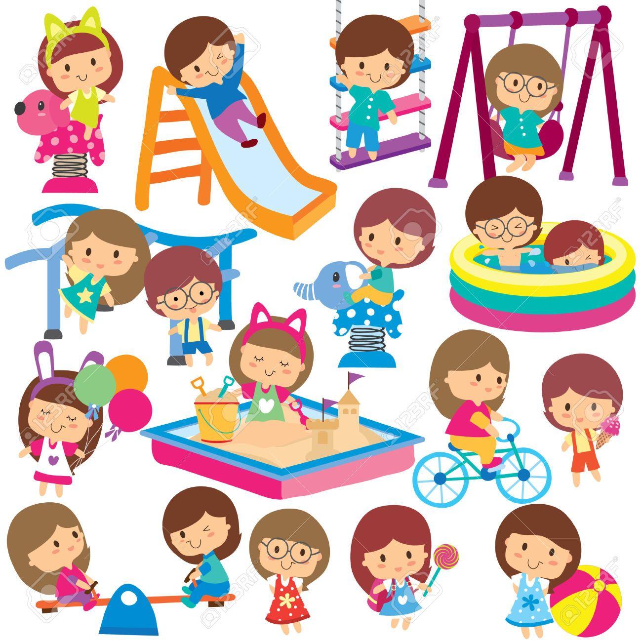 30518834 kids at playground clip art set stock photo jpg 1300 1300 rh pinterest com au