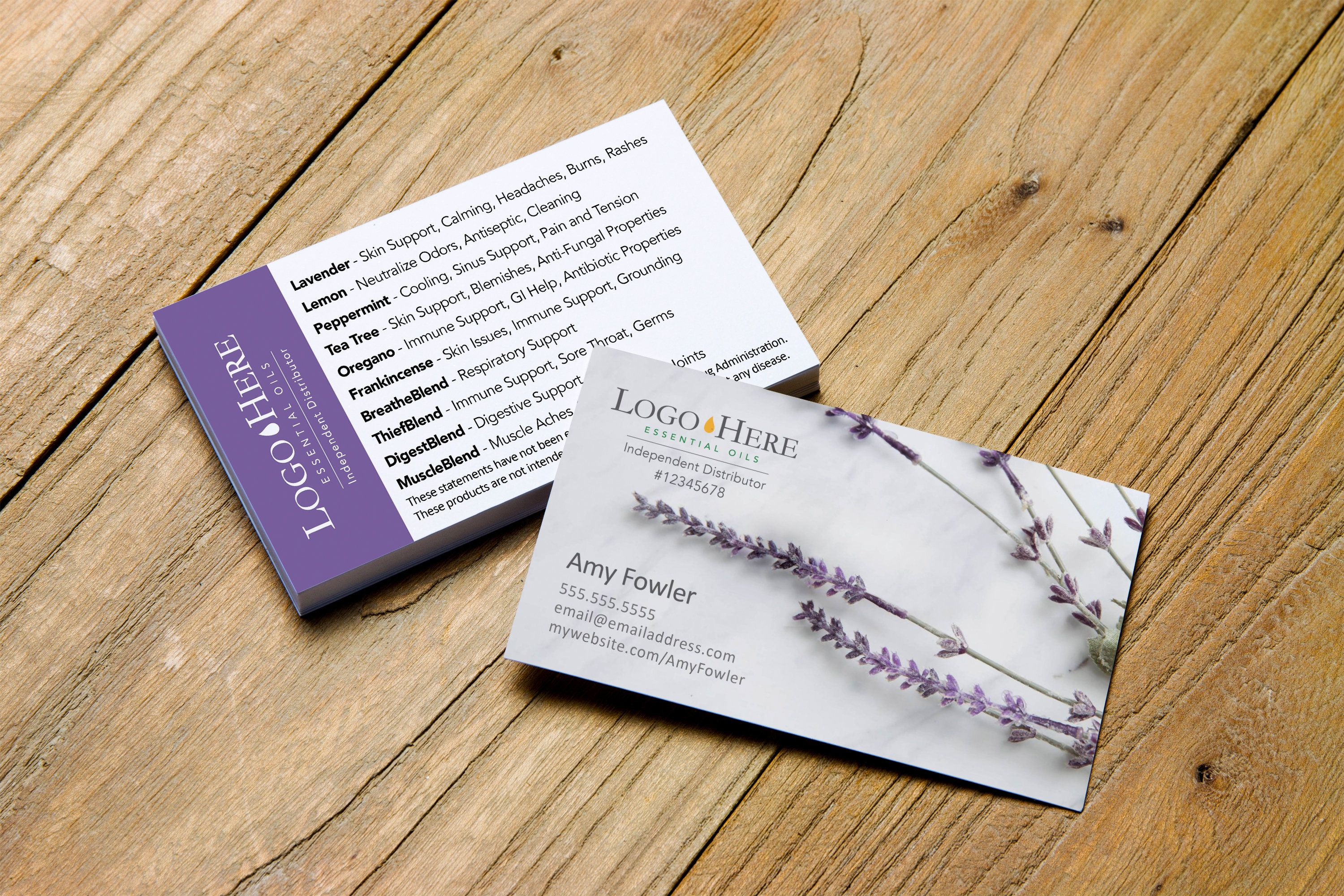 Top 10 Essential Oil Uses Lavender Business Card Design