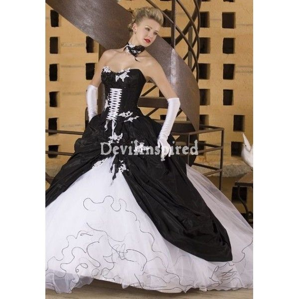 Black and White Strapless Gothic Wedding Dress | Gothic wedding ...