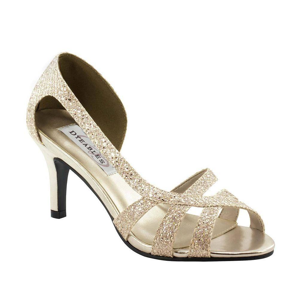 Champagne Gold Glitter Prom Formal Bridal D Orsay Strappy Kitten 2 5 Heel Shoe Heels Kitten Heel Shoes Prom Heels
