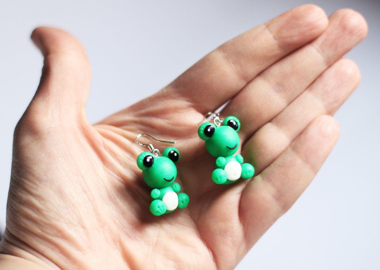 Kid earrings Green earrings Frog jewelry Daughter gift for