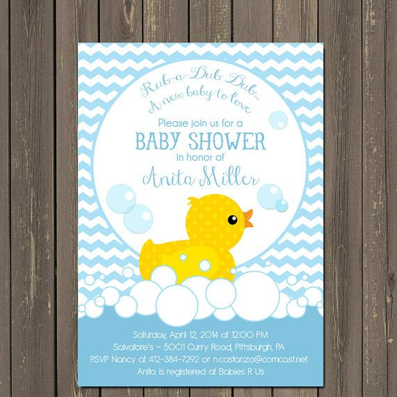 Rubber duck baby shower invitations rubber por partypopinvites rubber duck baby shower invitations rubber ducky shower invite pink or blue duck shower invites chevron duck shower printable or printed stopboris Image collections