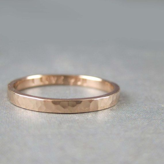 14k rose gold ring 2mm wide hammered gold band with engraved
