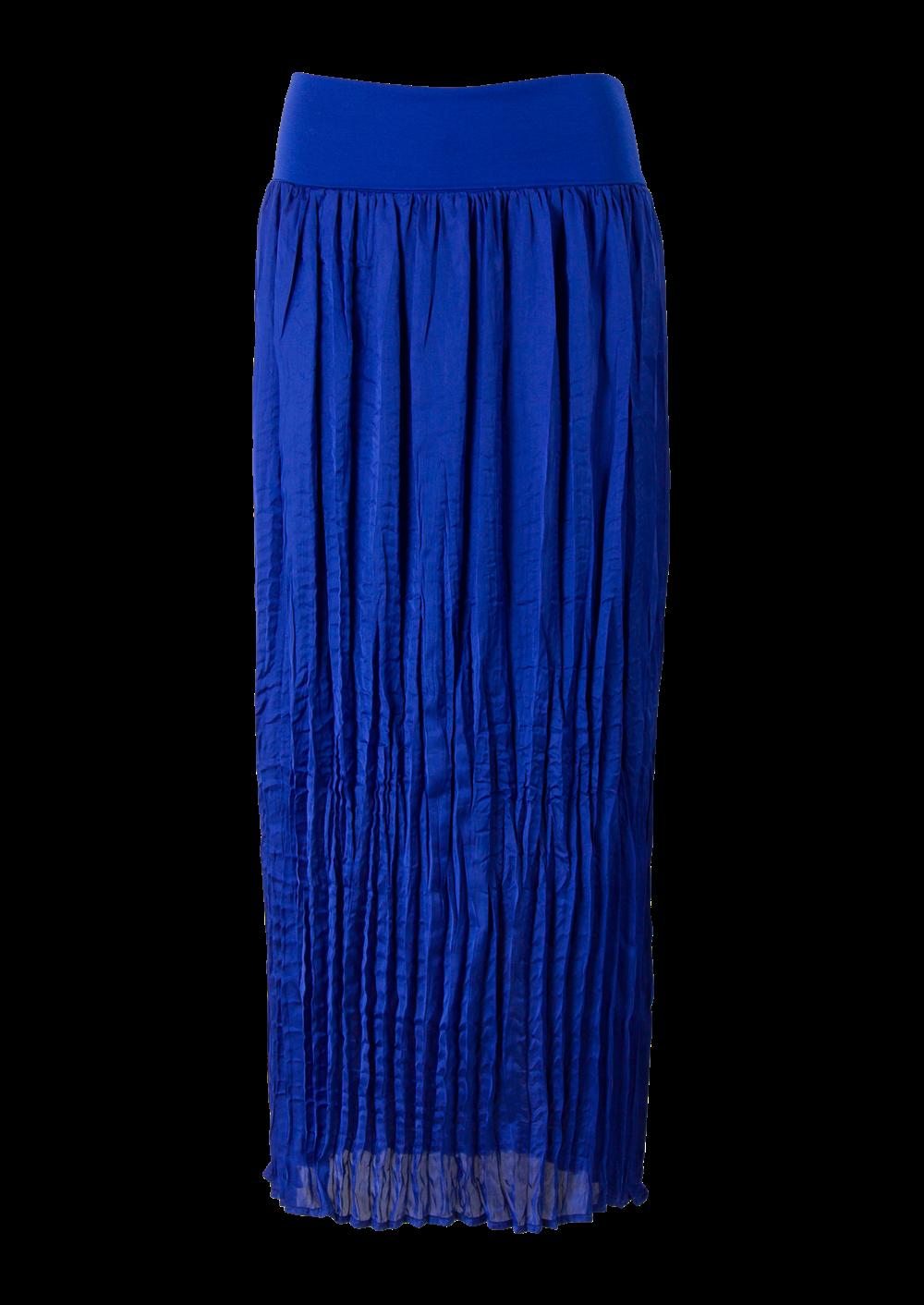 1130f1848348a6 Blauwe maxi rok in plissé met elastische tricot tailleband. Gemaakt van  soepele polyester glansstof.