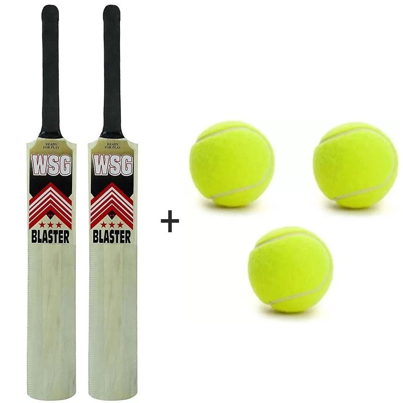 World Cup Special Blockbuster Combo 2 Wsg Blaster Popular Willow Cricket Bats 3 Tennis Balls Cricket Bat Tennis Balls Tennis