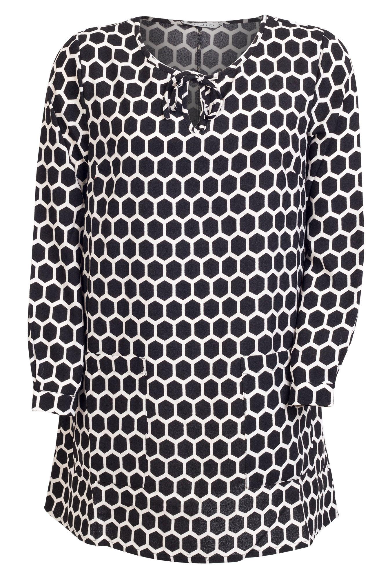 Mega fede Sort og hvid mønstret kjole Studio Modetøj til Damer til enhver anledning