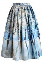 Icy Forest Pleated Midi Skirt from chic wish