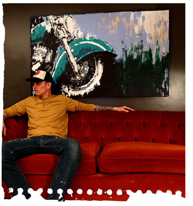 New Painting Acrylic On Canvas Motorcycle Painting Hot Rod And