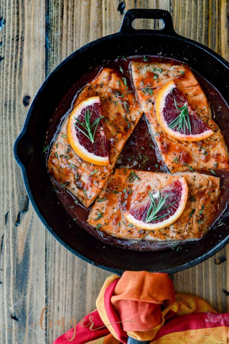 Pan Seared Salmon in a Blood Orange Sauce #searedsalmonrecipes