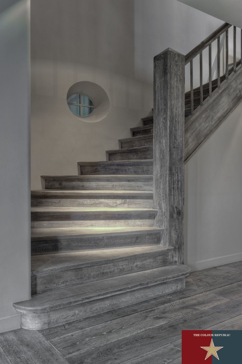 Lighting Basement Washroom Stairs: Dark Grey Natural Oak Floors, Bespoke Staircase & Bespoke