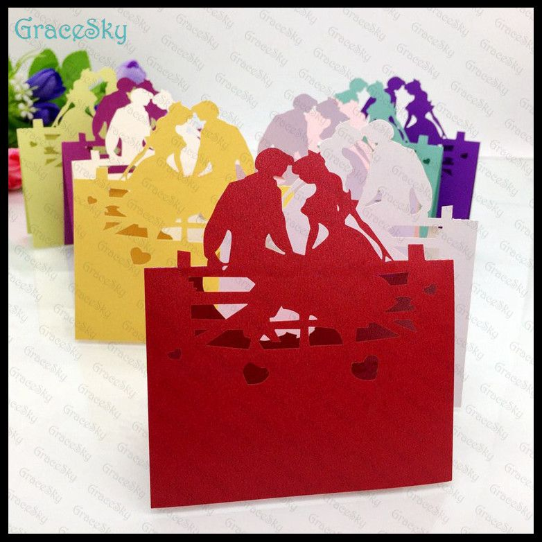 50pcs Free Shipping New Design Bride\Groom Laser Cutting Wedding - best of invitation name designs