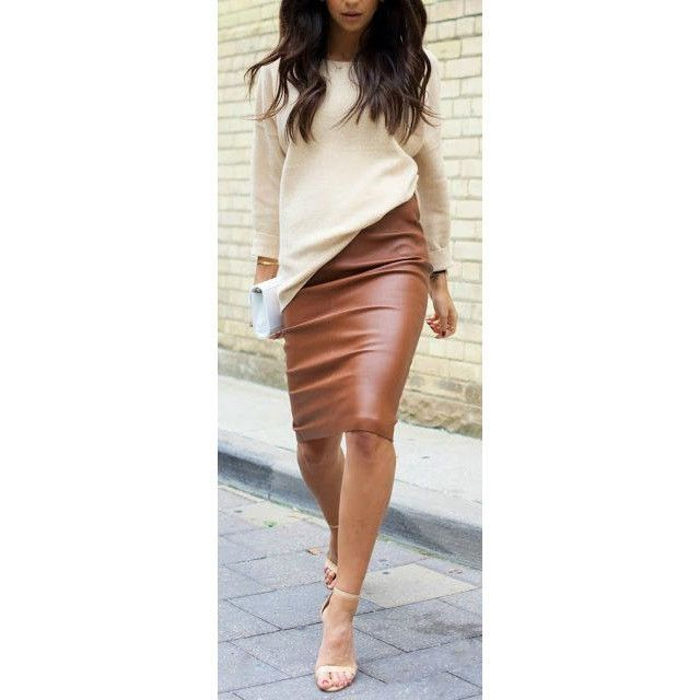a11e560f09 BROWN PU FAUX LEATHER SKIRT | S T Y L E. | Fashion, Fall outfits ...