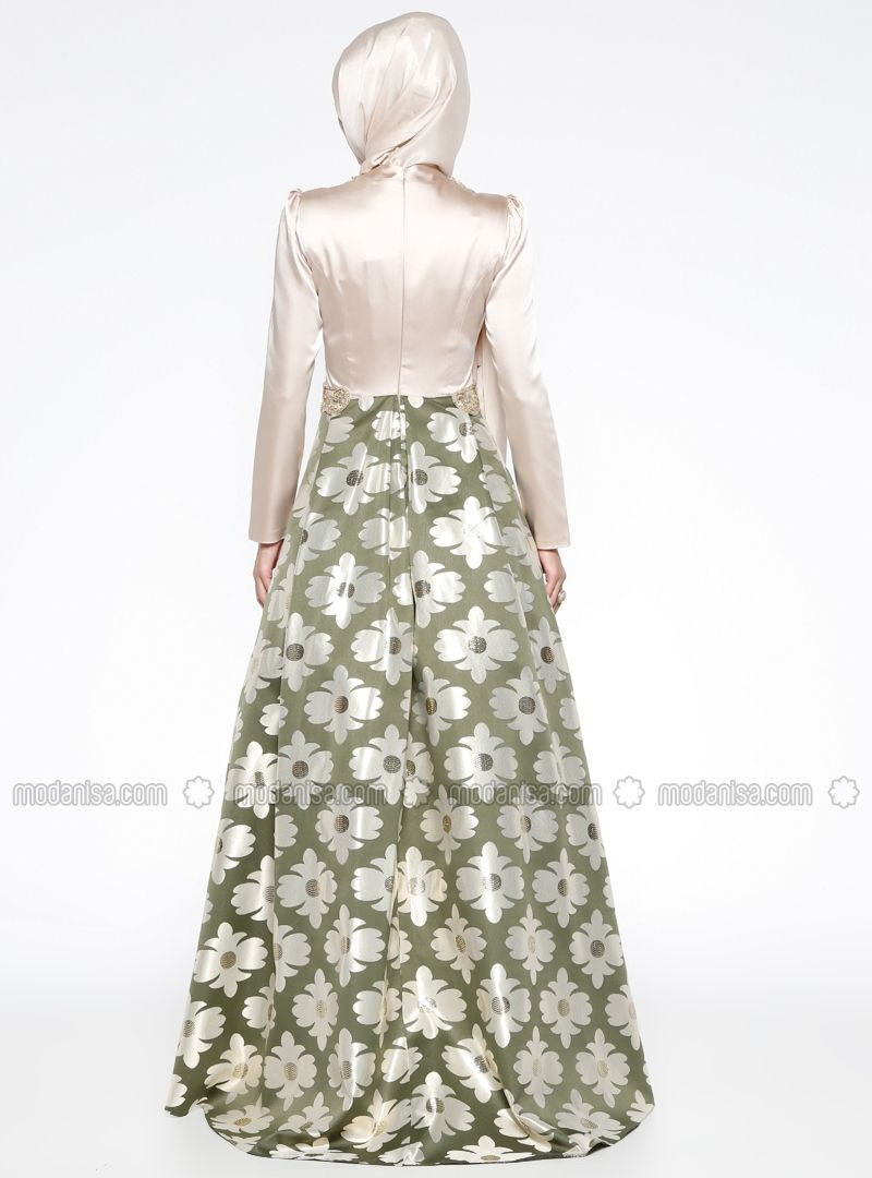 673057816ca Green - Gold - Khaki - Floral - Fully Lined - Crew neck - Muslim Evening  Dress - Puane