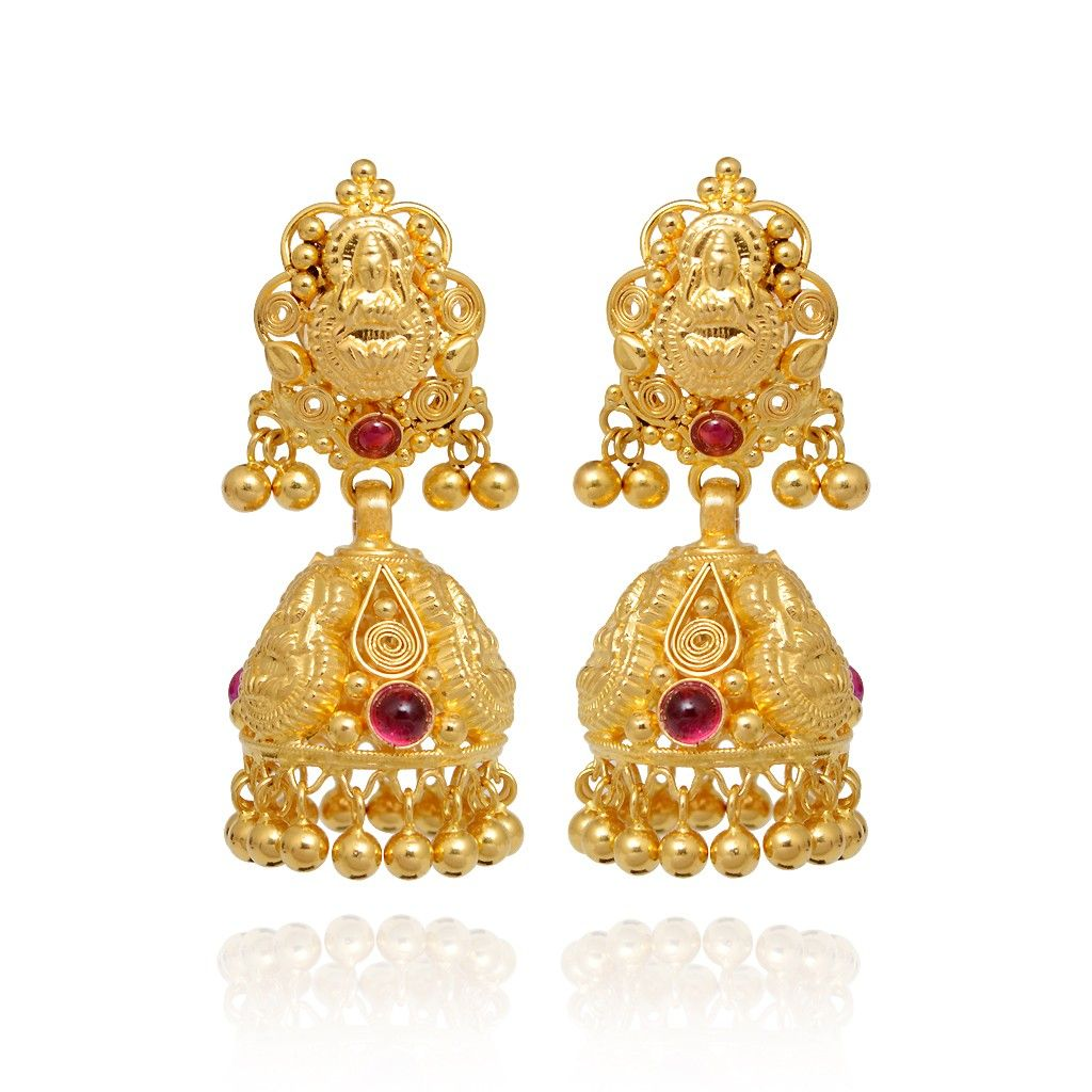 22KT Gold Bead With Red Stone Gold Earrings - Earrings - Type ...