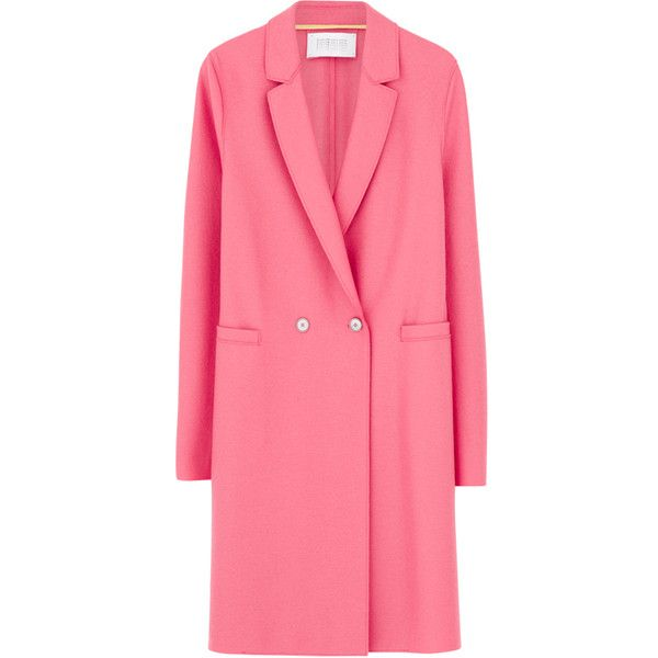 Harris Wharf Double Breasted Coat - Baby Pink (1.380 BRL) ❤ liked on Polyvore featuring outerwear, coats, jackets, baby pink, double breasted coat, harris wharf london, red coat, cocoon coat and baby pink coat