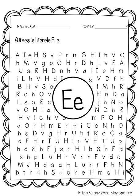 Clasa Pregatitoare Fisa De Lucru Pentru Sunetul Si Litera E