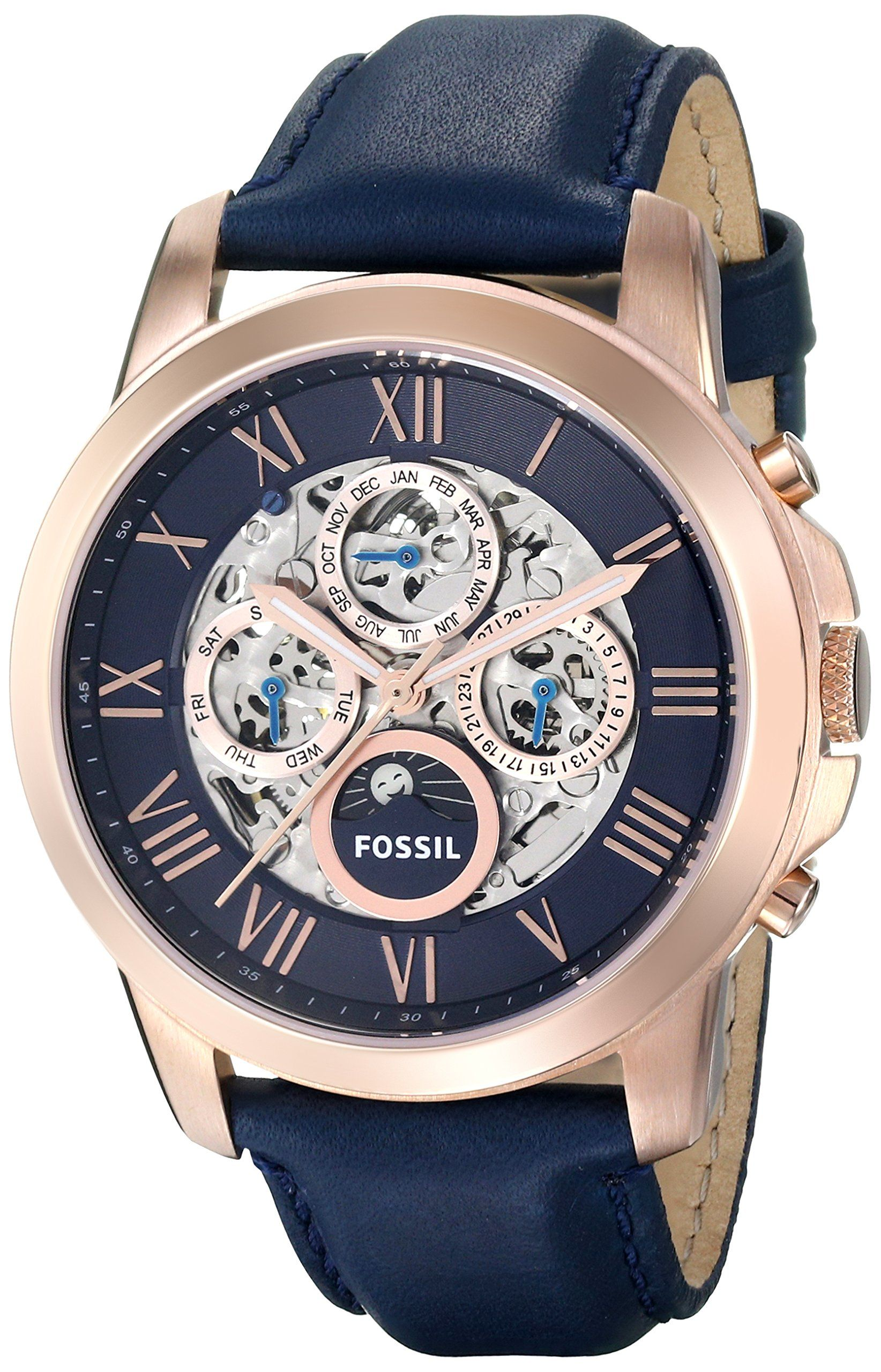 8740a35ce95 Fossil Men s ME3029 Grant Automatic Leather Watch - Blue