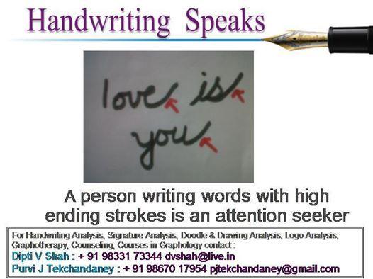 Handwriting slants upward