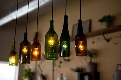 Kronleuchter Mit Flaschen ~ Sticks and bricks » the roost u2013 glass bottle hanging lamps. cut the