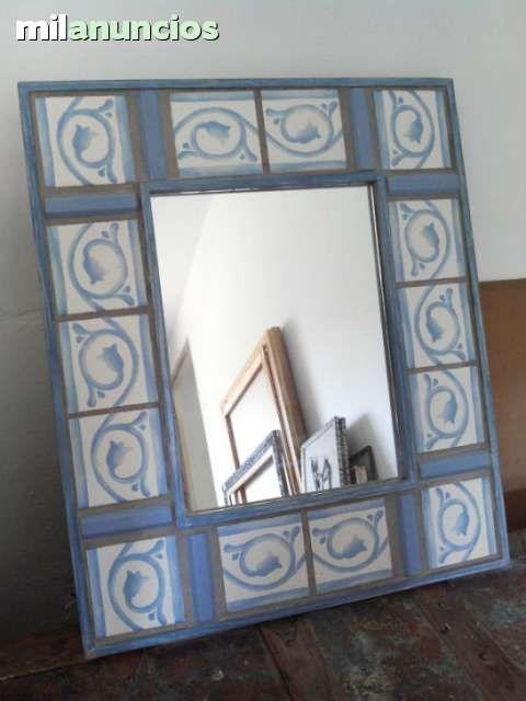Espejo con marco de azulejos las medidas son 63x53 5cm tenerife pinterest espejo - Azulejos tenerife ...
