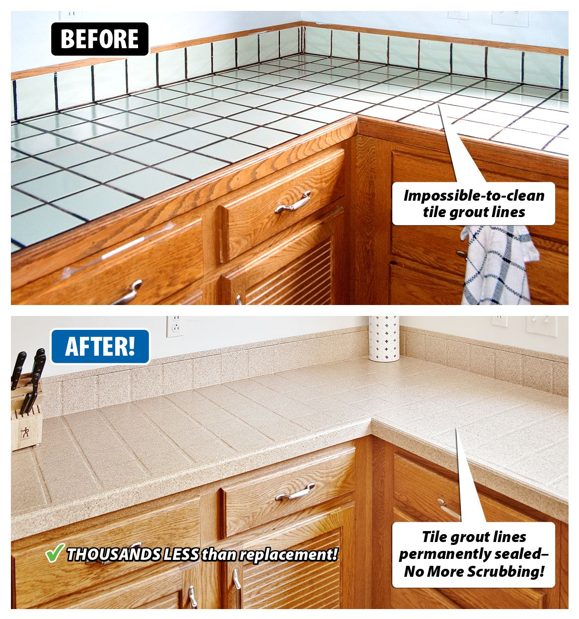 Are Your Tile Countertops Dated And Worn Grout Hard To Clean Do You Like The Shape Of Til Diy Kitchen