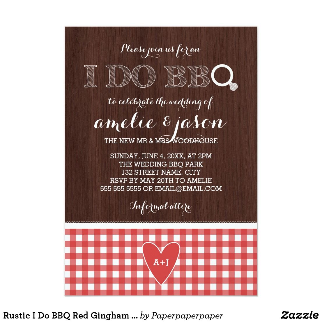 Rustic I Do BBQ Red Gingham Post Wedding Party Card | Red gingham ...