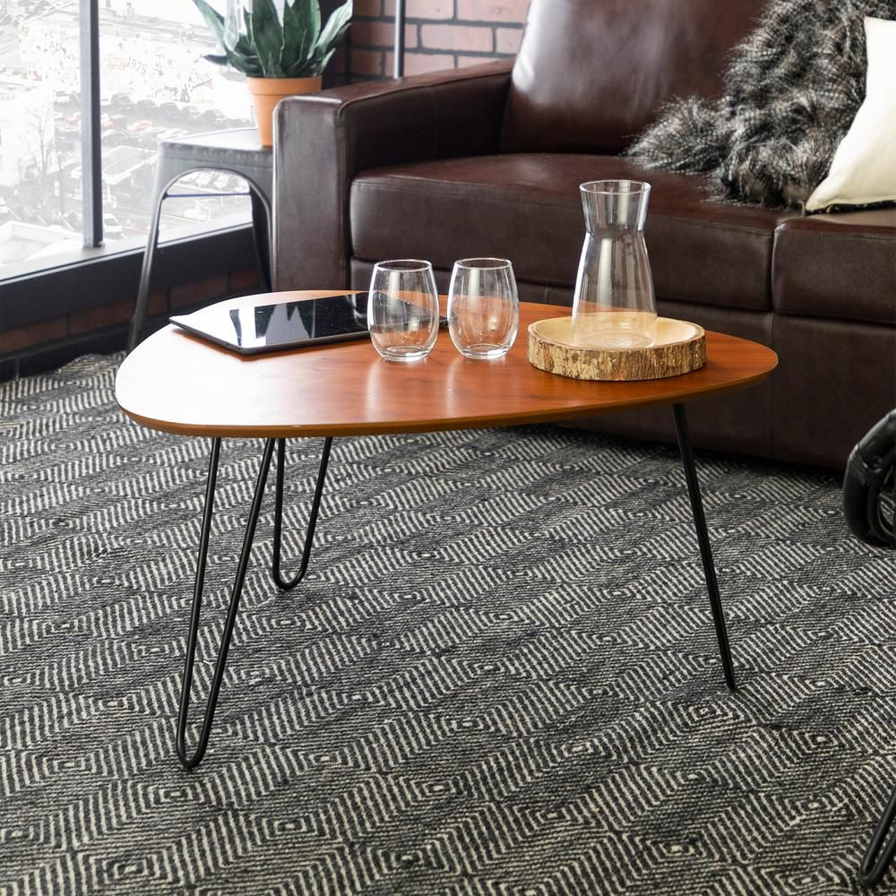 Walker Edison Furniture Company Mid 32 In Walnut Medium Triangle Mdf Coffee Table Hdf32hpctwt The Home Depot In 2021 Coffee Table Wood Coffee Table Oval Wood Coffee Table [ 1000 x 1000 Pixel ]