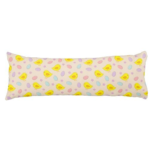 #Cute #Easter #pattern with chickens, eggs, flowers Body Pillow #home #bodypillow