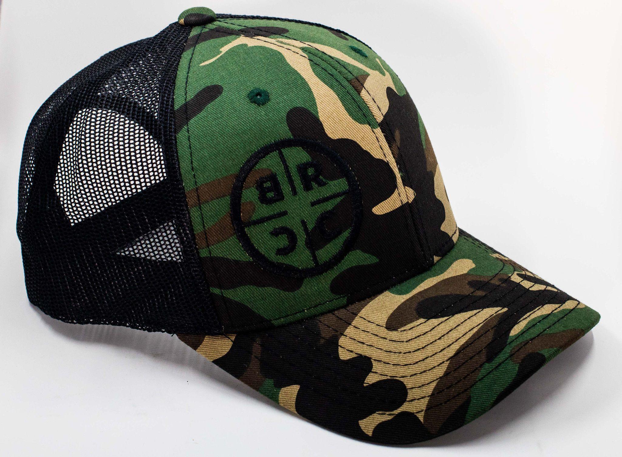 f13c36fe01967 BRCC Trucker Hat - Camo with Black mesh