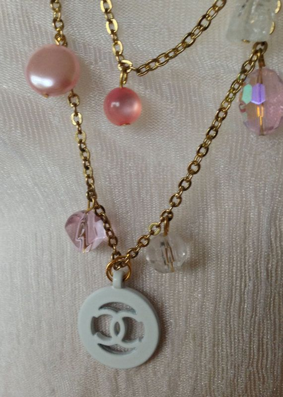 Chanel Vintage Authentic Designer Charm on Long Pink White Charm Necklacesd  on Etsy, $41.50