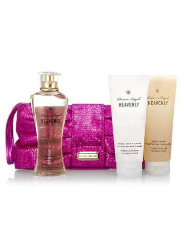 Victoria's Secret Dream Angel Heavenly Gift Set-purse W Lotion, Mist, Wash .... $44.99. Angel Mist 4.2 oz. HOT PINK GLITTER CLUTCH/PURSE measures approx.  9 X 3 X 5. Angel Touch Lotion 3.4 oz. Angel Wash 3.4 oz. Fragrance Notes: soft and gauzy notes of flowers and woods.