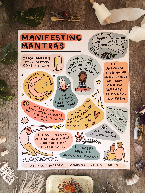 Manifesting Mantras Poster 16x20 - manifest art artwork wall decor zen den affirmations spiritual chakras crystals