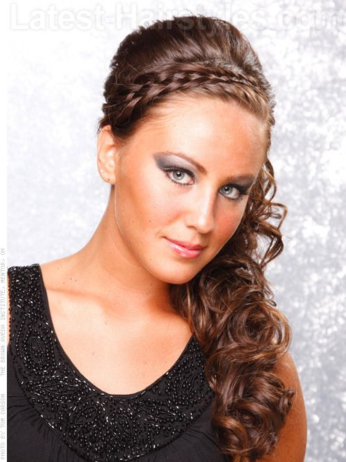to the side curly prom hairstyles curls are pinned to