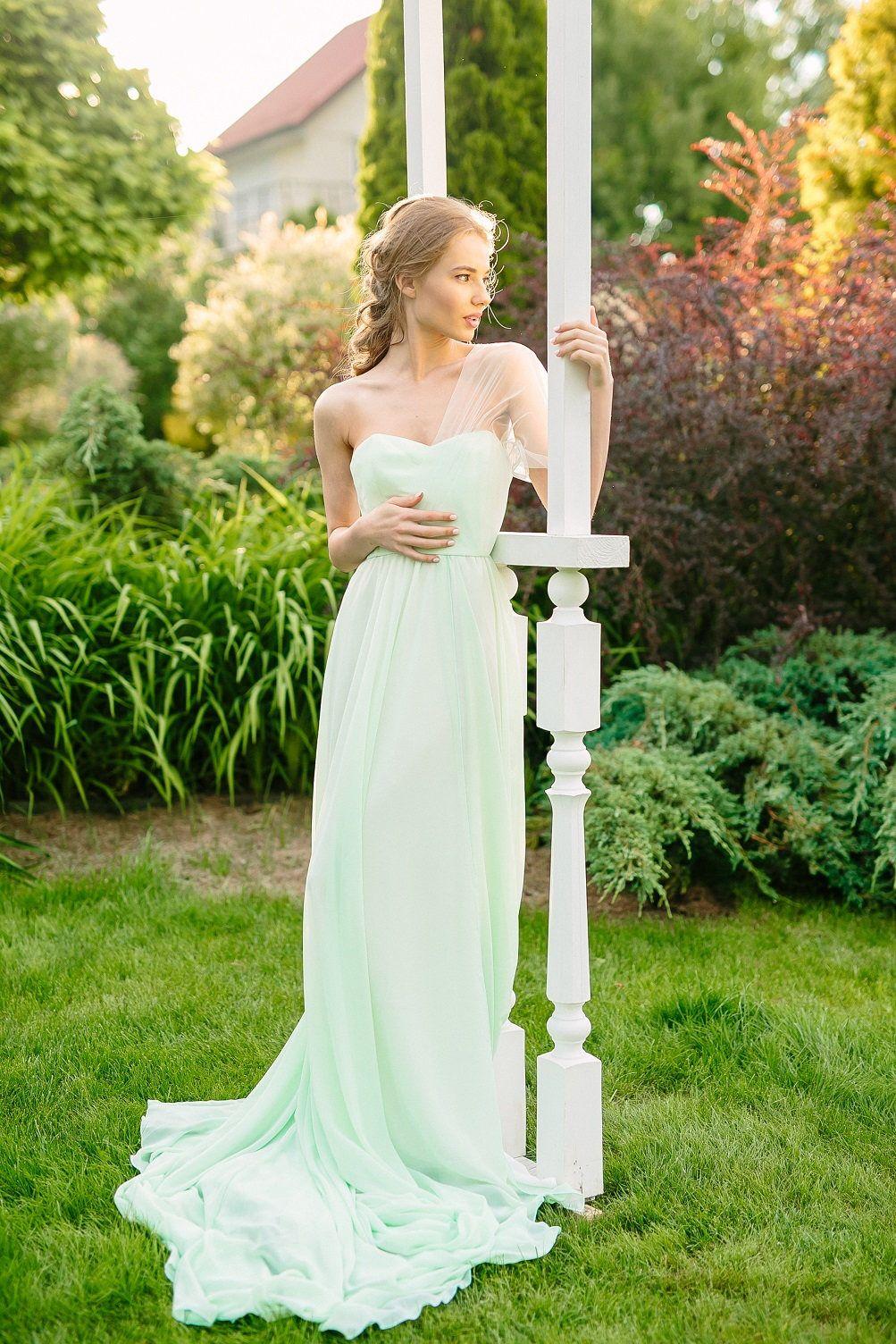 Non traditional wedding dress  Wedding dress mint wedding dress chiffon gown train Bridal Gown