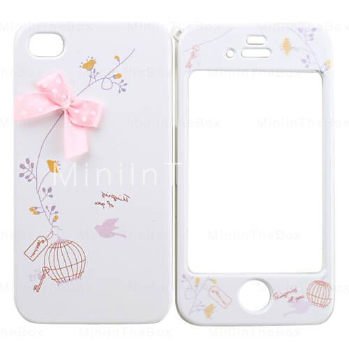 Full Body Case for iPhone 4/4S - Pink Ribbon & Cutie Bird